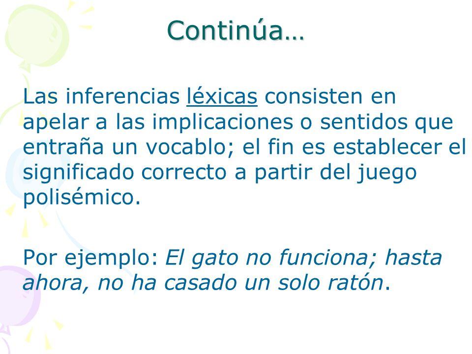 Continúa… Las inferencias léxicas consisten en apelar a las implicaciones o sentidos que entraña un vocablo; el fin es establecer el significado corre