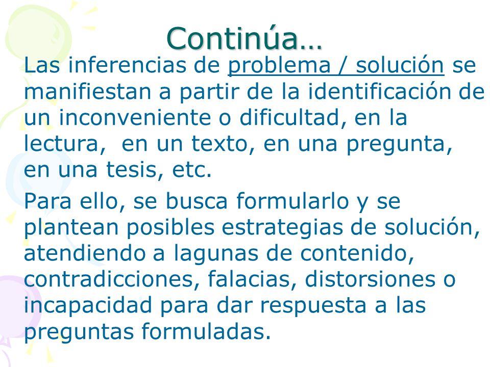 Continúa… Las inferencias de problema / solución se manifiestan a partir de la identificación de un inconveniente o dificultad, en la lectura, en un t