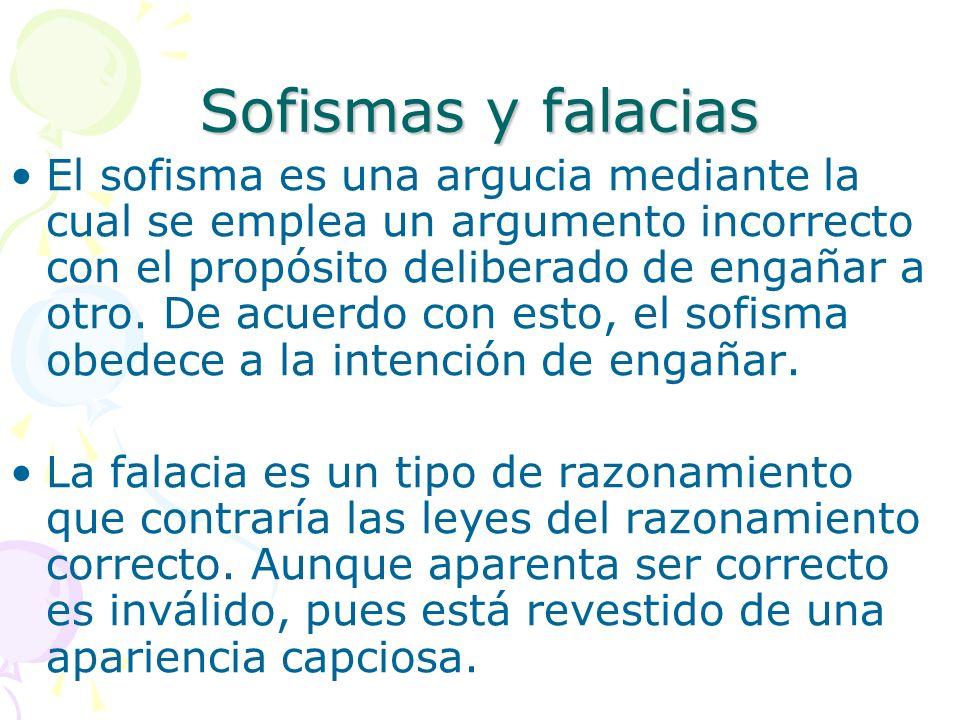 Sofismas y falacias El sofisma es una argucia mediante la cual se emplea un argumento incorrecto con el propósito deliberado de engañar a otro. De acu