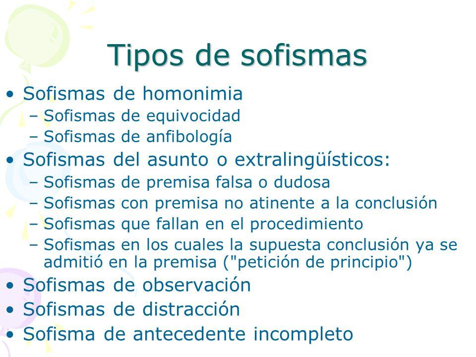Tipos de sofismas Sofismas de homonimia –Sofismas de equivocidad –Sofismas de anfibología Sofismas del asunto o extralingüísticos: –Sofismas de premis
