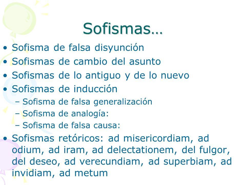 Sofismas… Sofisma de falsa disyunción Sofismas de cambio del asunto Sofismas de lo antiguo y de lo nuevo Sofismas de inducción –Sofisma de falsa gener