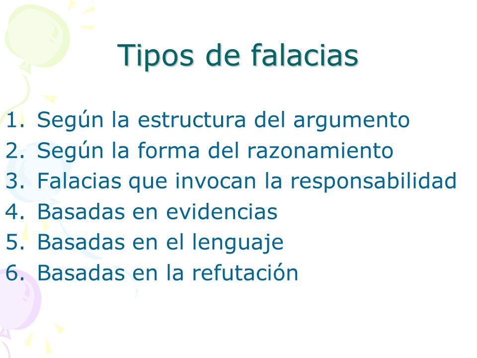 Tipos de falacias 1.Según la estructura del argumento 2.Según la forma del razonamiento 3.Falacias que invocan la responsabilidad 4.Basadas en evidenc