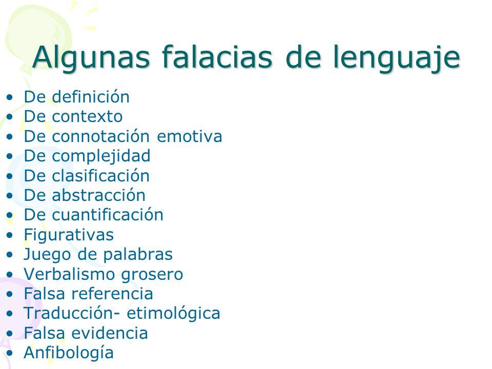 Algunas falacias de lenguaje De definición De contexto De connotación emotiva De complejidad De clasificación De abstracción De cuantificación Figurat