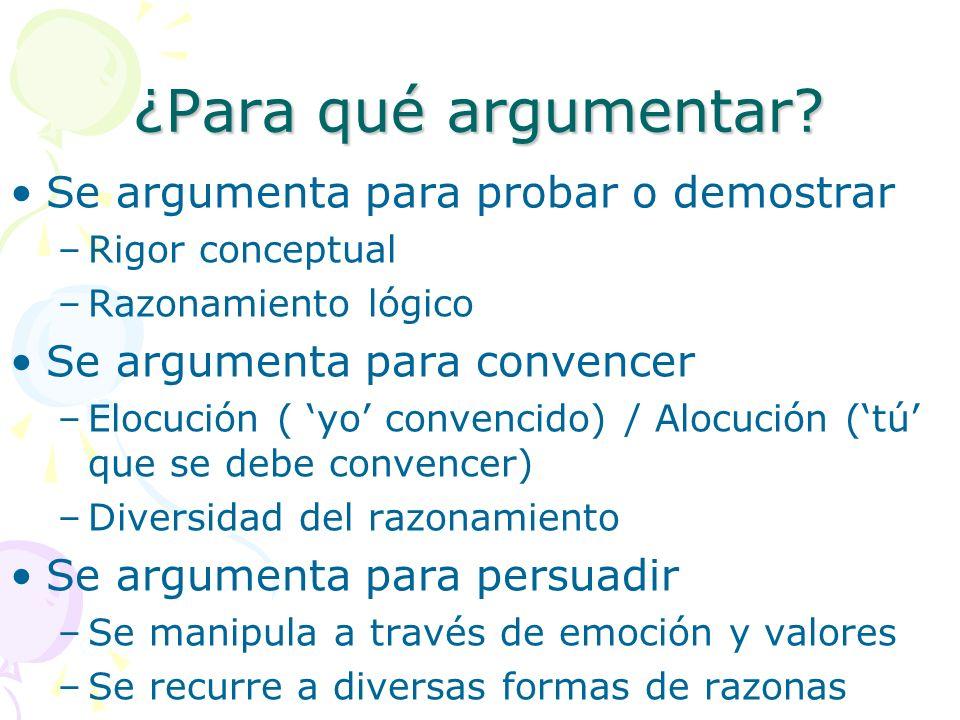 ¿Para qué argumentar? Se argumenta para probar o demostrar –Rigor conceptual –Razonamiento lógico Se argumenta para convencer –Elocución ( yo convenci