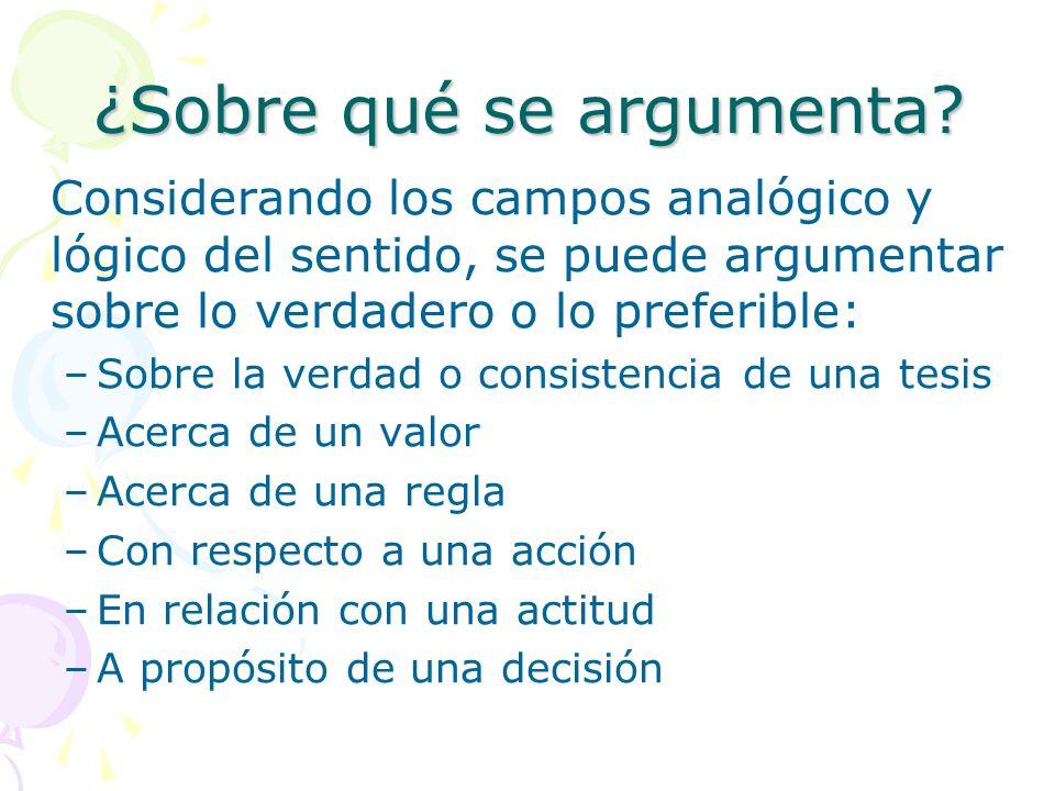 ¿Sobre qué se argumenta? Considerando los campos analógico y lógico del sentido, se puede argumentar sobre lo verdadero o lo preferible: –Sobre la ver