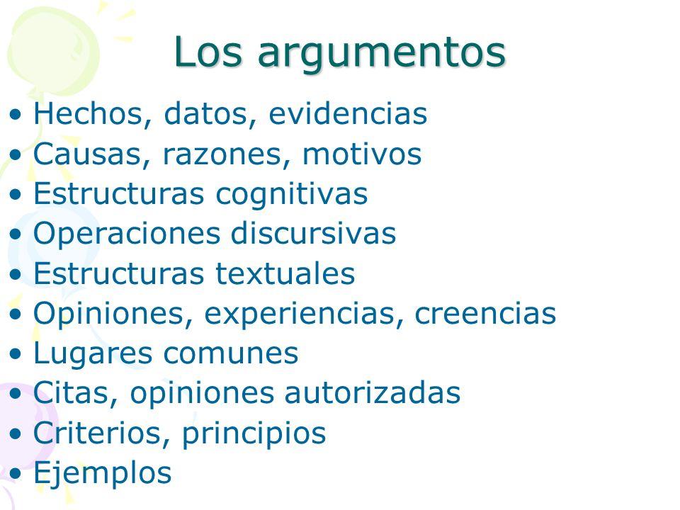 Los argumentos Hechos, datos, evidencias Causas, razones, motivos Estructuras cognitivas Operaciones discursivas Estructuras textuales Opiniones, expe