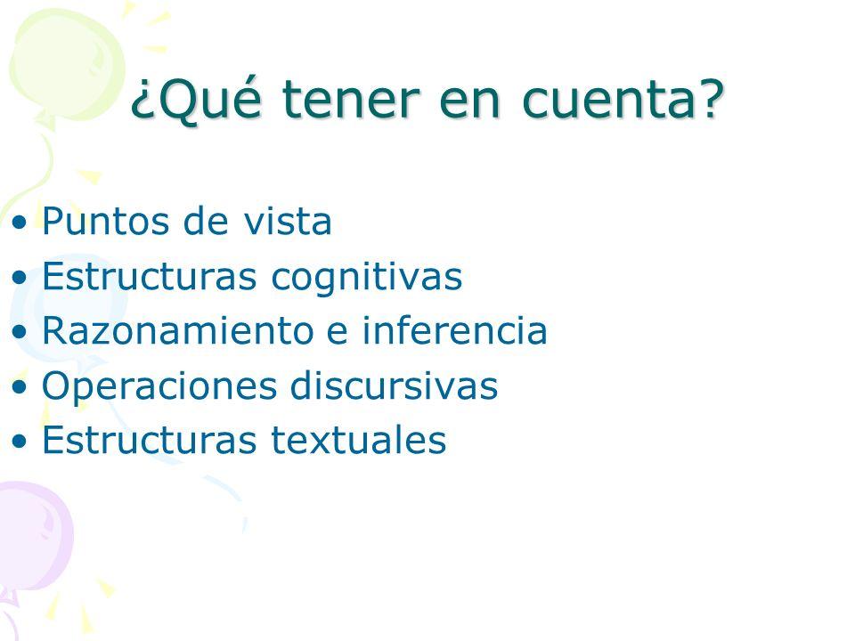 ¿Qué tener en cuenta? Puntos de vista Estructuras cognitivas Razonamiento e inferencia Operaciones discursivas Estructuras textuales