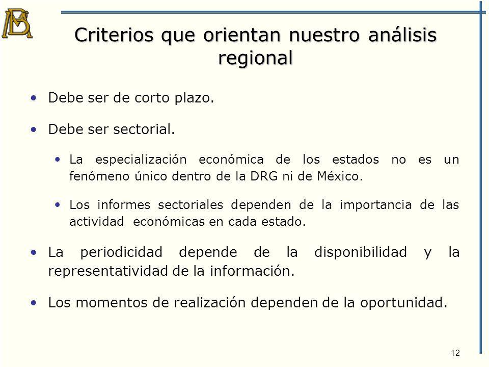 12 Criterios que orientan nuestro análisis regional Debe ser de corto plazo.
