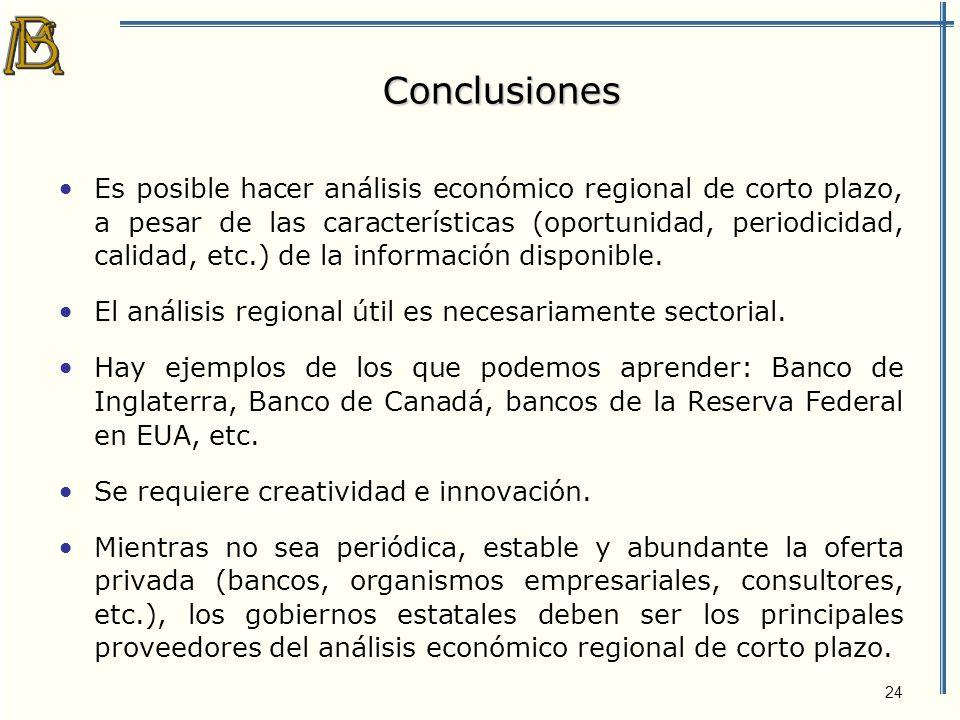 24 Conclusiones Es posible hacer análisis económico regional de corto plazo, a pesar de las características (oportunidad, periodicidad, calidad, etc.) de la información disponible.