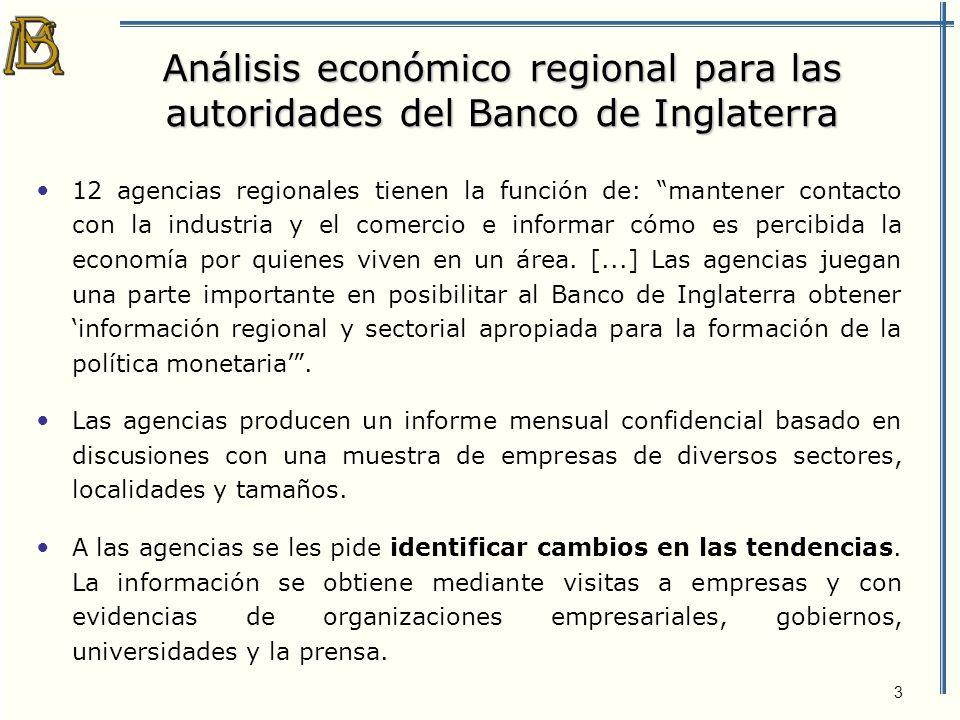 3 Análisis económico regional para las autoridades del Banco de Inglaterra 12 agencias regionales tienen la función de: mantener contacto con la industria y el comercio e informar cómo es percibida la economía por quienes viven en un área.