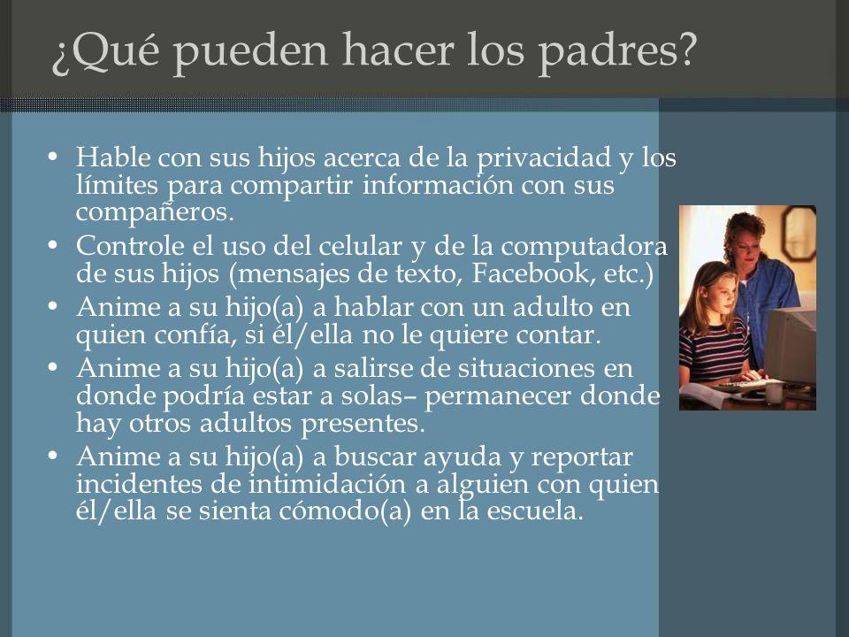 ¿Qué pueden hacer los padres.
