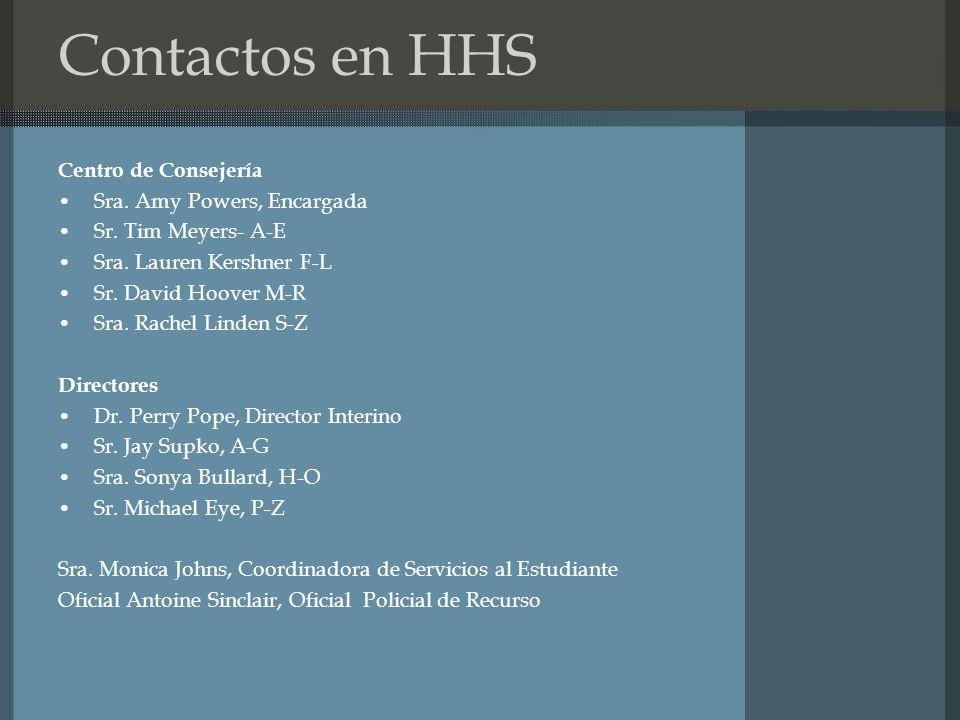 Contactos en HHS Centro de Consejería Sra.Amy Powers, Encargada Sr.