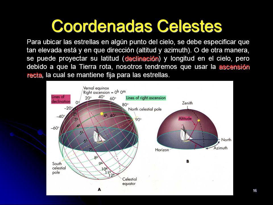 16 Coordenadas Celestes declinación ascensión recta Para ubicar las estrellas en algún punto del cielo, se debe especificar que tan elevada está y en que dirección (altitud y azimuth).