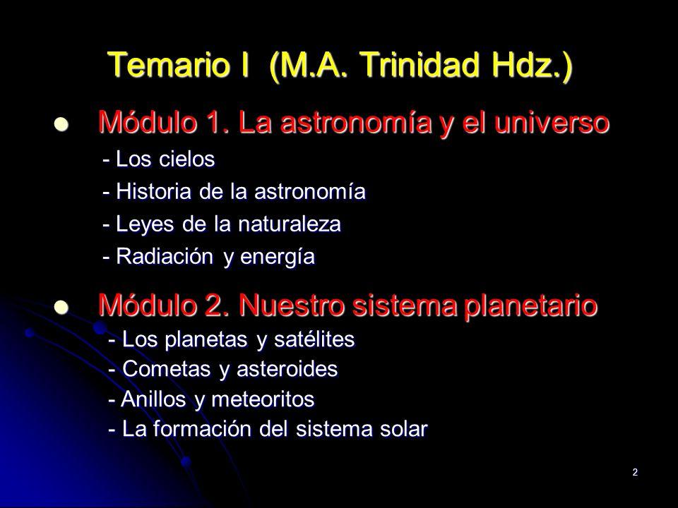 2 Temario I (M.A. Trinidad Hdz.) Módulo 1. La astronomía y el universo Módulo 1. La astronomía y el universo - Los cielos - Los cielos - Historia de l