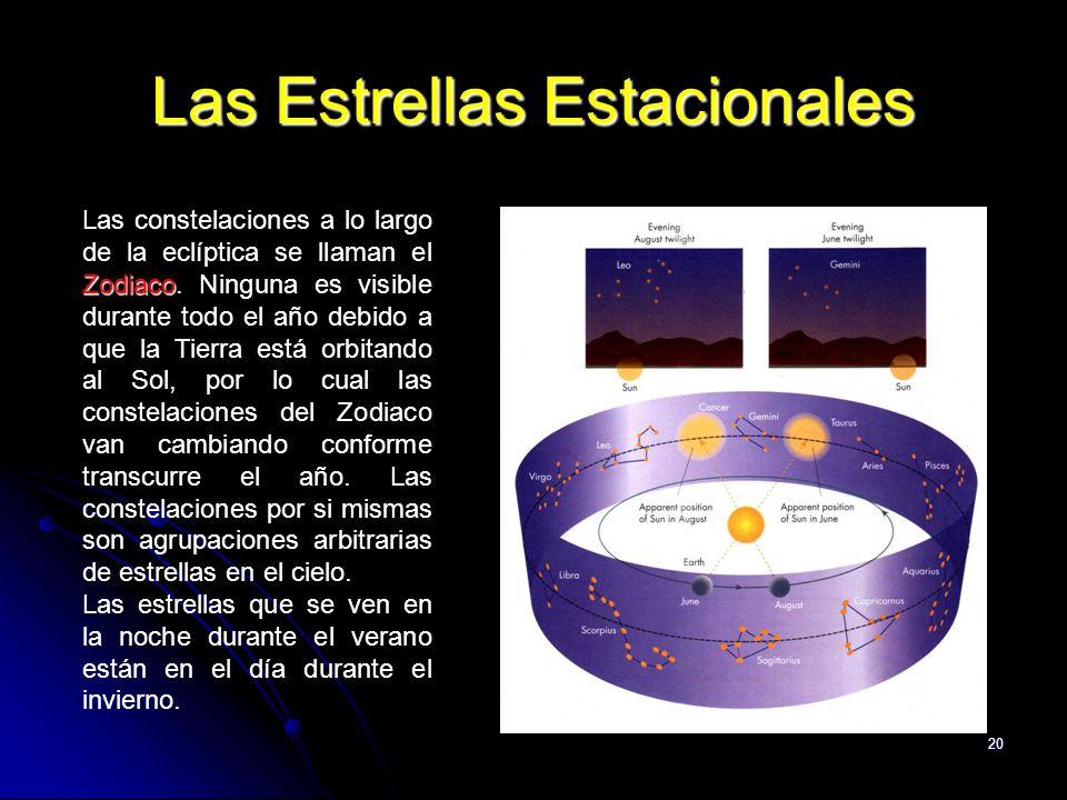 20 Las Estrellas Estacionales Zodiaco Las constelaciones a lo largo de la eclíptica se llaman el Zodiaco. Ninguna es visible durante todo el año debid