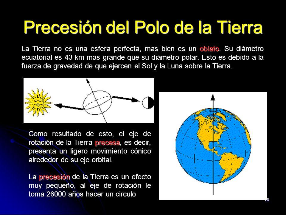 28 Precesión del Polo de la Tierra oblato La Tierra no es una esfera perfecta, mas bien es un oblato. Su diámetro ecuatorial es 43 km mas grande que s