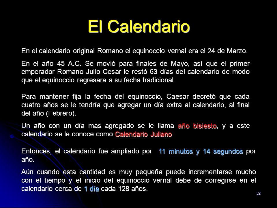 32 El Calendario En el calendario original Romano el equinoccio vernal era el 24 de Marzo. En el año 45 A.C. Se movió para finales de Mayo, así que el