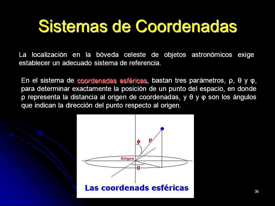 36 Sistemas de Coordenadas La localización en la bóveda celeste de objetos astronómicos exige establecer un adecuado sistema de referencia.