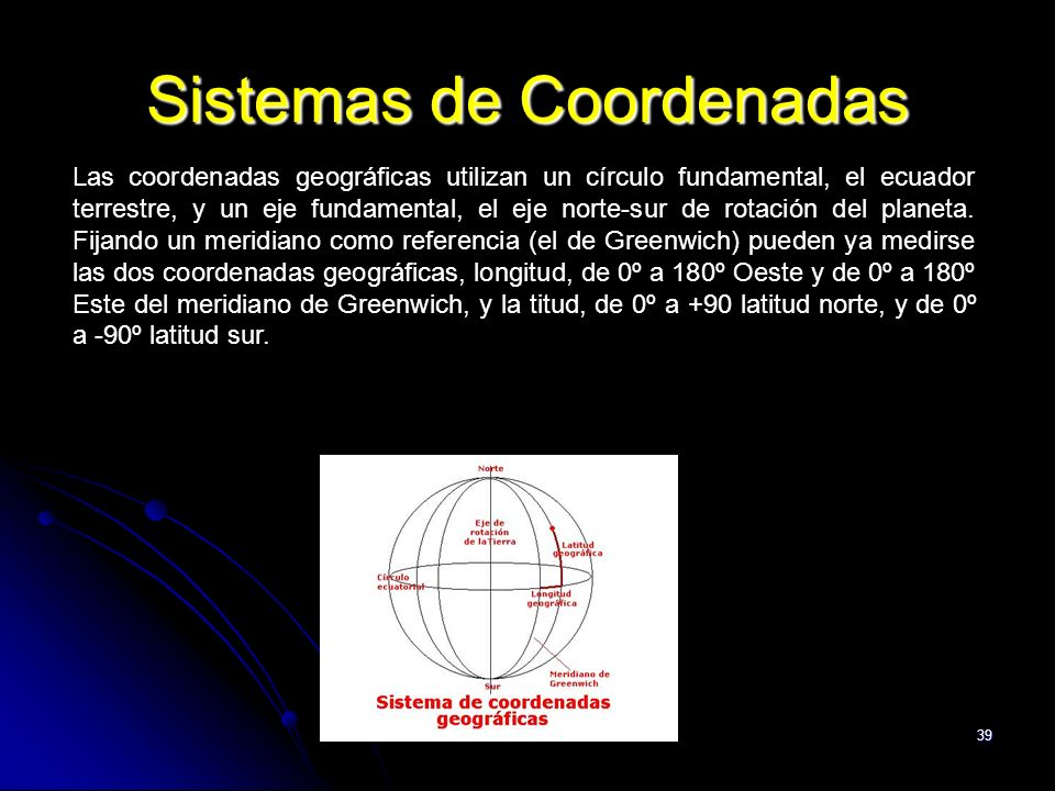 39 Sistemas de Coordenadas Las coordenadas geográficas utilizan un círculo fundamental, el ecuador terrestre, y un eje fundamental, el eje norte-sur de rotación del planeta.