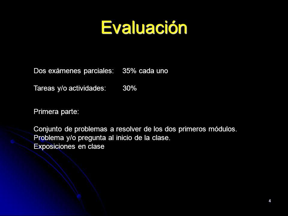 4 Evaluación Dos exámenes parciales: 35% cada uno Tareas y/o actividades: 30% Primera parte: Conjunto de problemas a resolver de los dos primeros módu