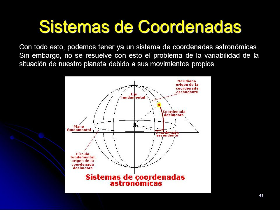 41 Sistemas de Coordenadas Con todo esto, podemos tener ya un sistema de coordenadas astronómicas. Sin embargo, no se resuelve con esto el problema de
