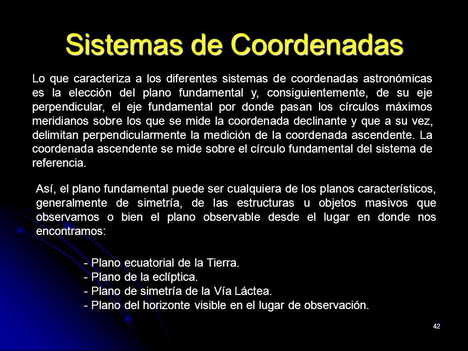 42 Sistemas de Coordenadas Lo que caracteriza a los diferentes sistemas de coordenadas astronómicas es la elección del plano fundamental y, consiguien