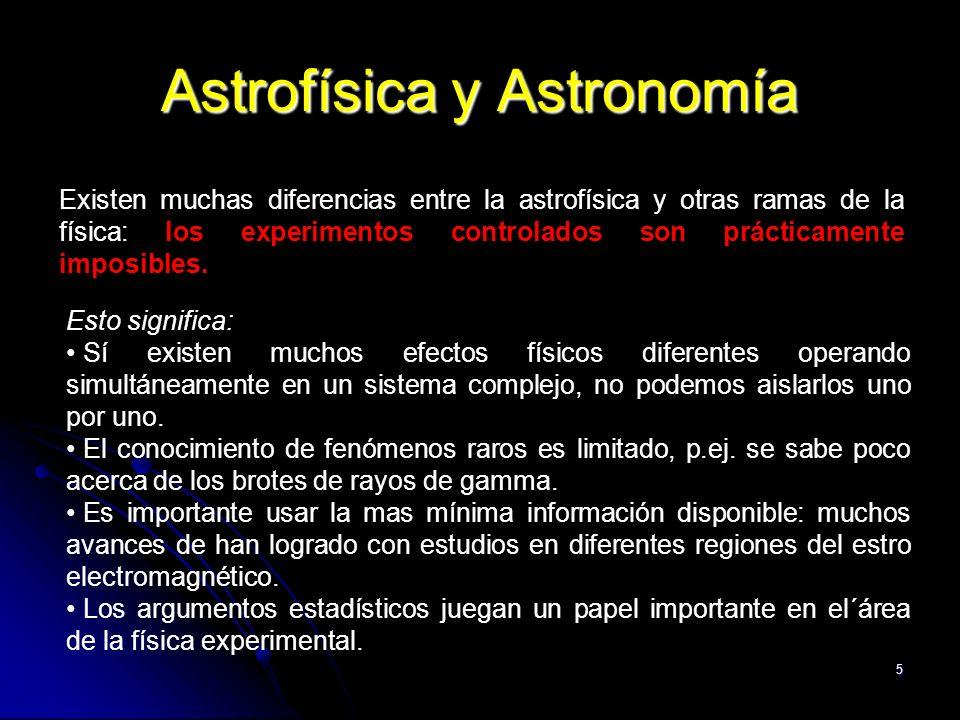 5 Astrofísica y Astronomía Existen muchas diferencias entre la astrofísica y otras ramas de la física: los experimentos controlados son prácticamente imposibles.