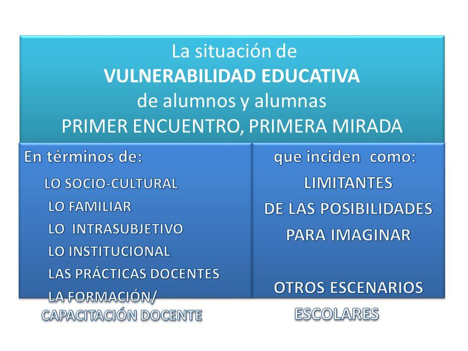 La situación de VULNERABILIDAD EDUCATIVA de alumnos y alumnas PRIMER ENCUENTRO, PRIMERA MIRADA La situación de VULNERABILIDAD EDUCATIVA de alumnos y a