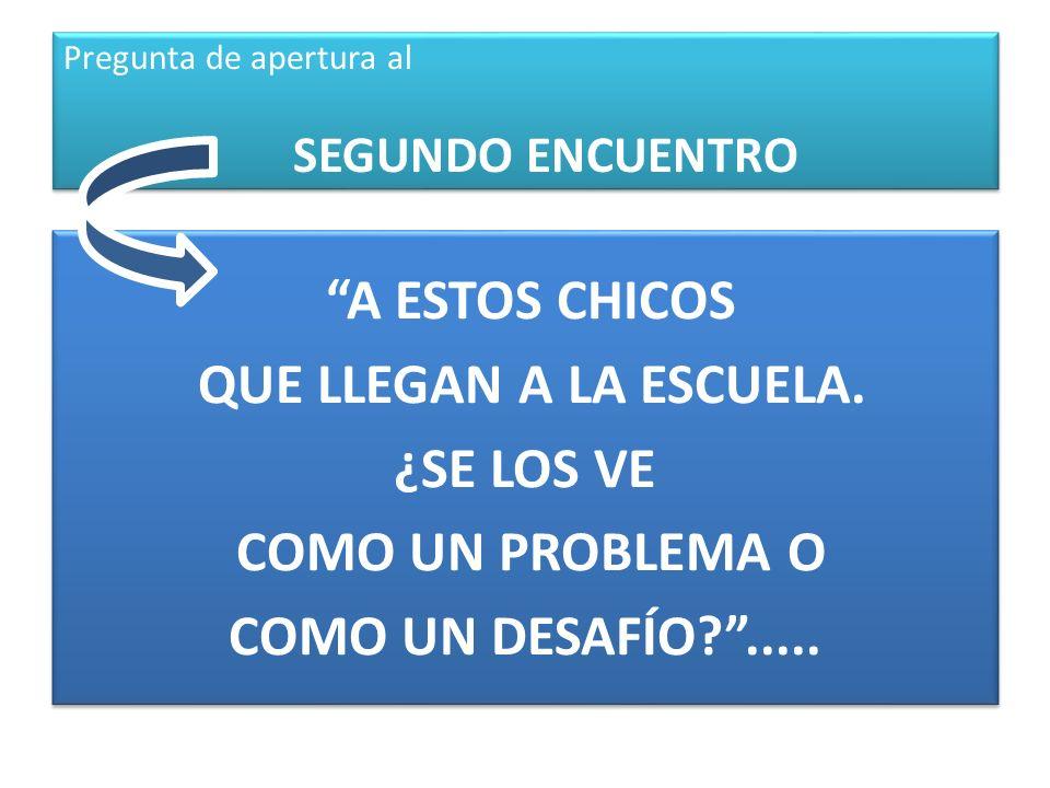 Pregunta de apertura al SEGUNDO ENCUENTRO A ESTOS CHICOS QUE LLEGAN A LA ESCUELA. ¿SE LOS VE COMO UN PROBLEMA O COMO UN DESAFÍO?..... A ESTOS CHICOS Q