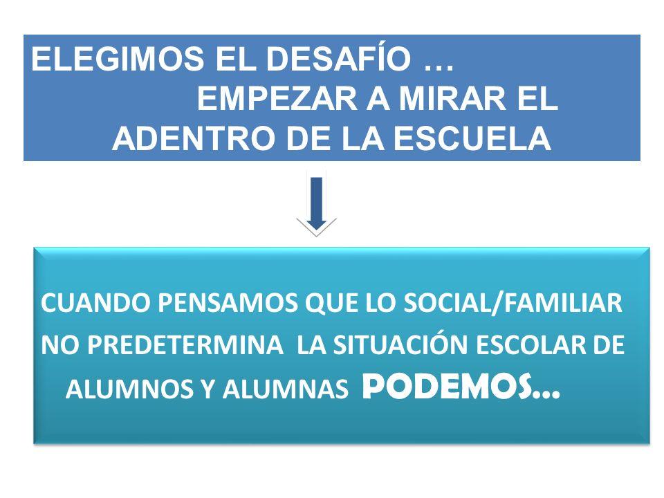 CUANDO PENSAMOS QUE LO SOCIAL/FAMILIAR NO PREDETERMINA LA SITUACIÓN ESCOLAR DE ALUMNOS Y ALUMNAS PODEMOS… CUANDO PENSAMOS QUE LO SOCIAL/FAMILIAR NO PR