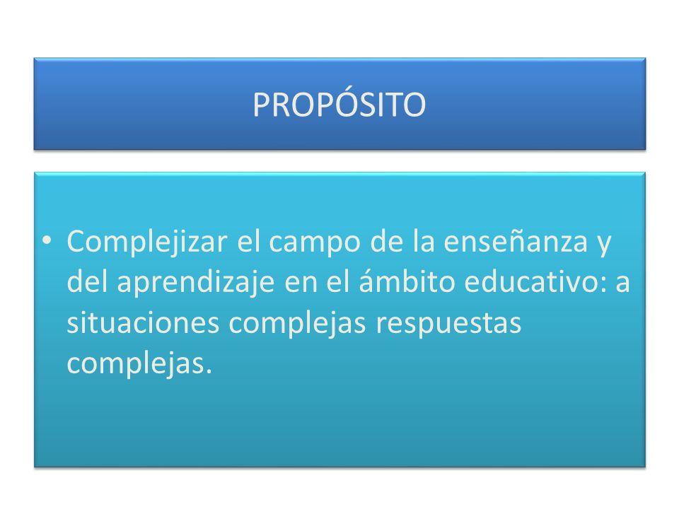 PROPÓSITO Complejizar el campo de la enseñanza y del aprendizaje en el ámbito educativo: a situaciones complejas respuestas complejas.