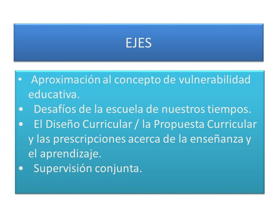EJES Aproximación al concepto de vulnerabilidad educativa. Desafíos de la escuela de nuestros tiempos. El Diseño Curricular / la Propuesta Curricular