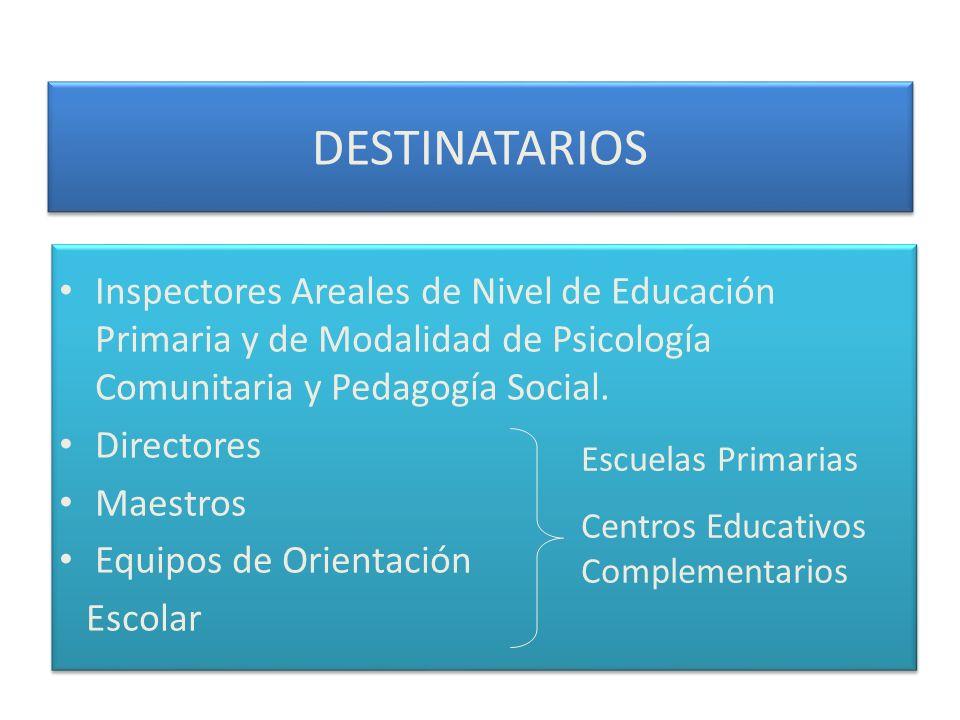 DESTINATARIOS Inspectores Areales de Nivel de Educación Primaria y de Modalidad de Psicología Comunitaria y Pedagogía Social. Directores Maestros Equi