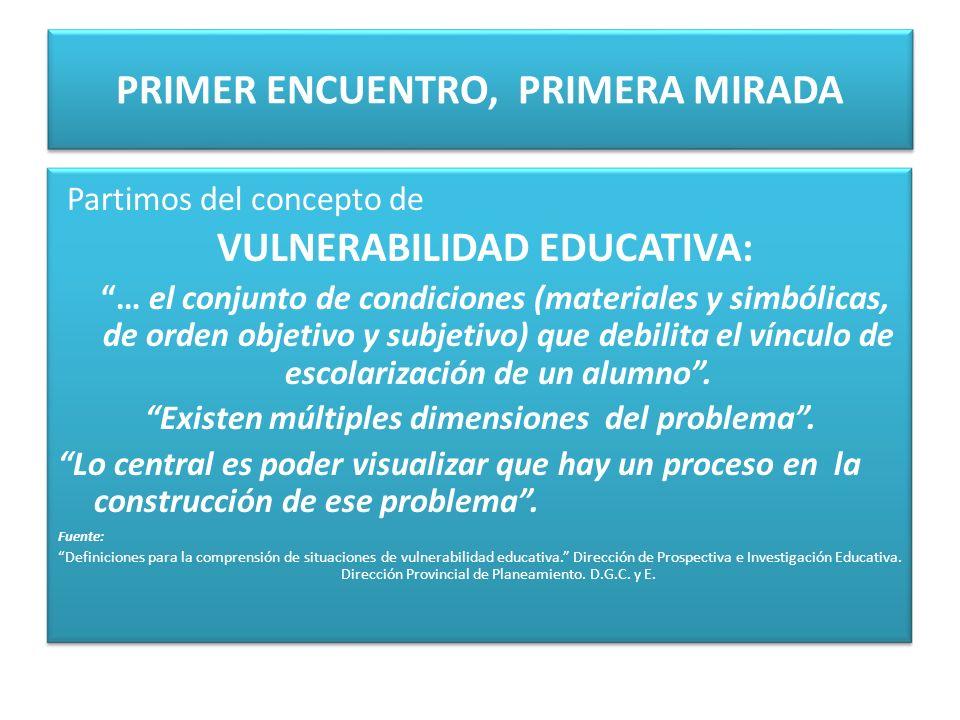 PRIMER ENCUENTRO, PRIMERA MIRADA Partimos del concepto de VULNERABILIDAD EDUCATIVA: … el conjunto de condiciones (materiales y simbólicas, de orden ob