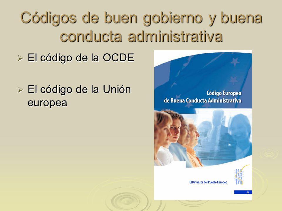 Códigos de buen gobierno y buena conducta administrativa El código de la OCDE El código de la OCDE El código de la Unión europea El código de la Unión