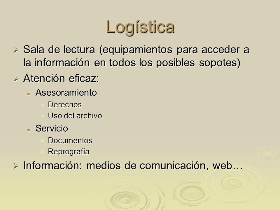 Logística Sala de lectura (equipamientos para acceder a la información en todos los posibles sopotes) Sala de lectura (equipamientos para acceder a la