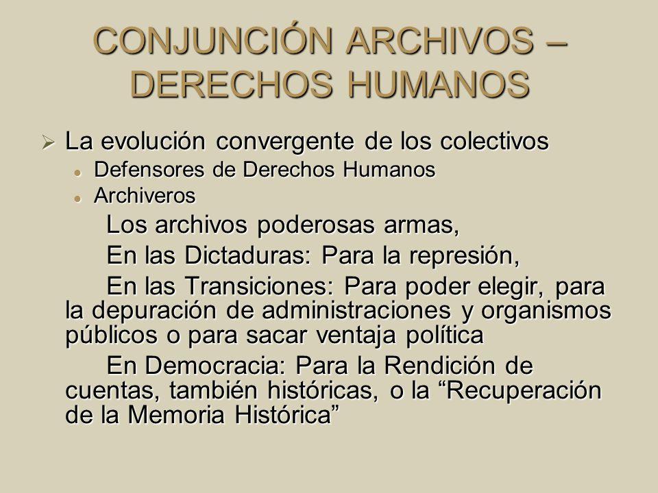 CONJUNCIÓN ARCHIVOS – DERECHOS HUMANOS La evolución convergente de los colectivos La evolución convergente de los colectivos Defensores de Derechos Hu