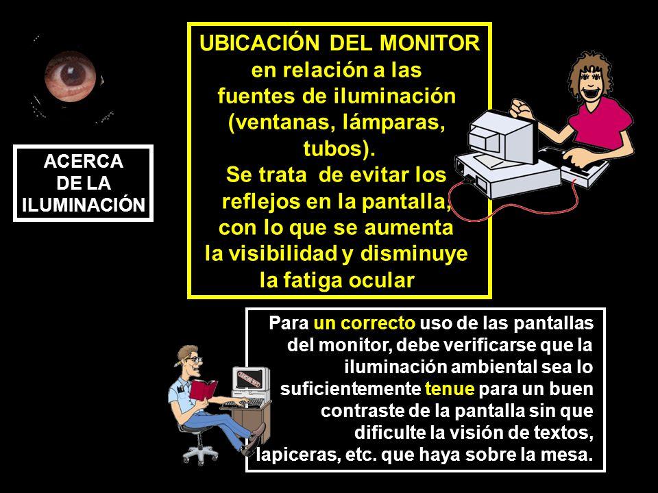UBICACIÓN DEL MONITOR en relación a las fuentes de iluminación (ventanas, lámparas, tubos). Se trata de evitar los reflejos en la pantalla, con lo que