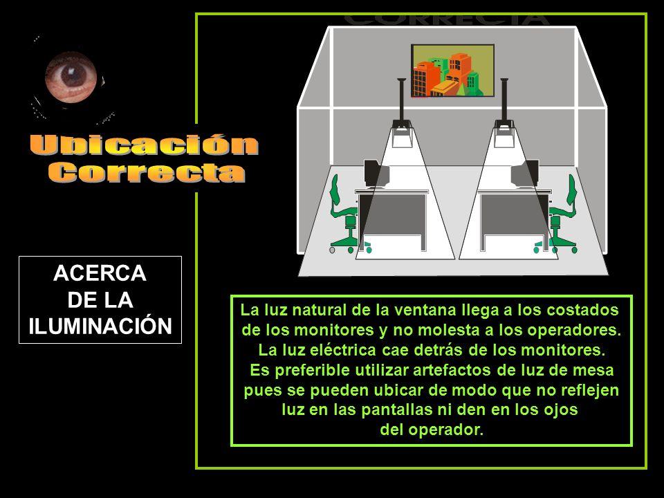 La luz natural de la ventana llega a los costados de los monitores y no molesta a los operadores. La luz eléctrica cae detrás de los monitores. Es pre