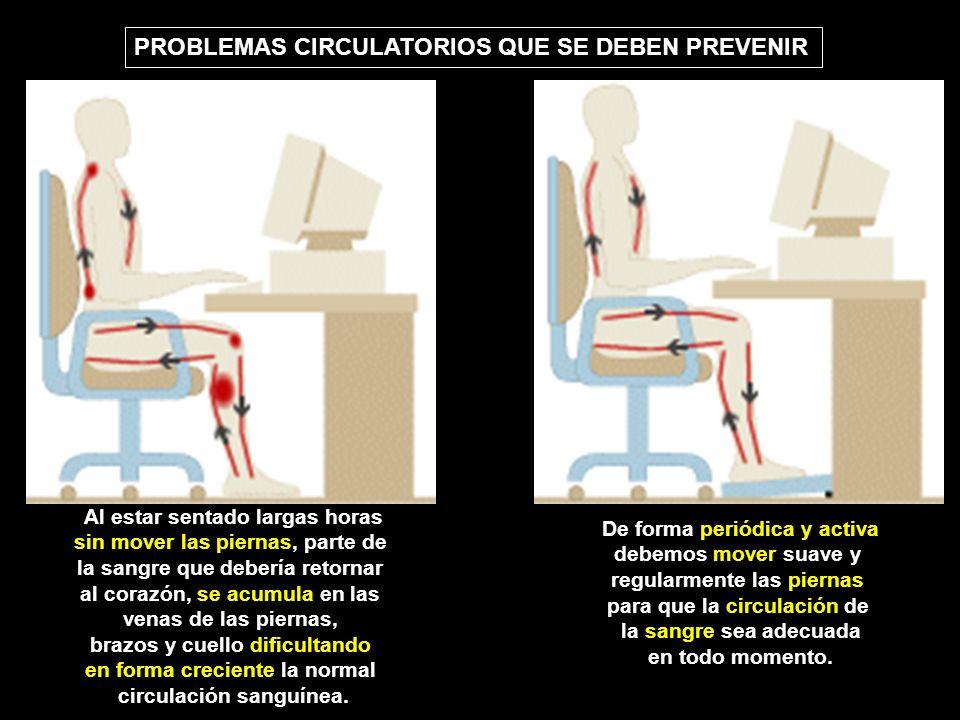 Al estar sentado largas horas sin mover las piernas, parte de la sangre que debería retornar al corazón, se acumula en las venas de las piernas, brazo