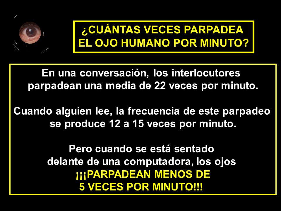 En una conversación, los interlocutores parpadean una media de 22 veces por minuto. Cuando alguien lee, la frecuencia de este parpadeo se produce 12 a