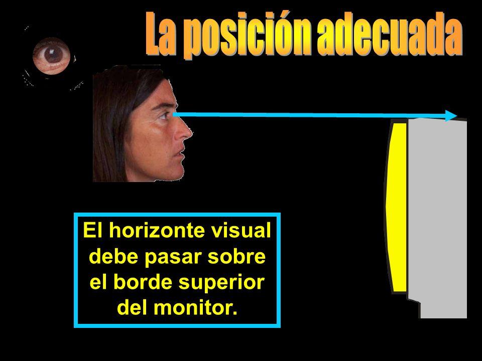 La cabeza está levemente inclinada hacia el monitor.