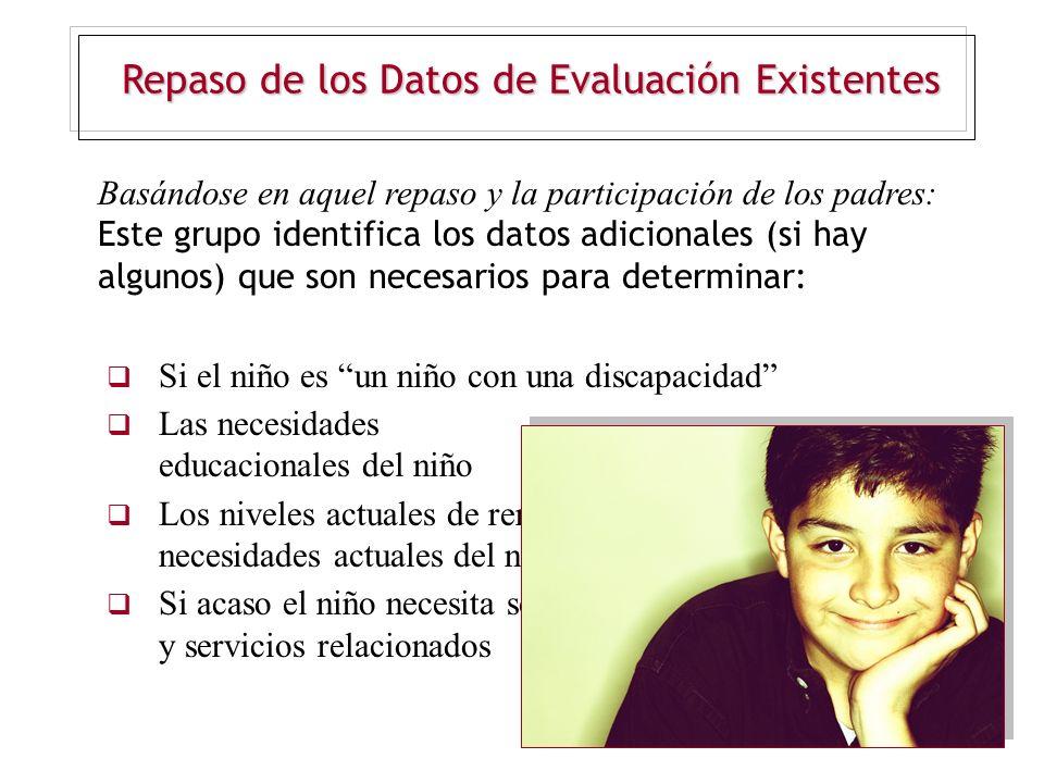 Repaso de los Datos de Evaluación Existentes Basándose en aquel repaso y la participación de los padres: Este grupo identifica los datos adicionales (
