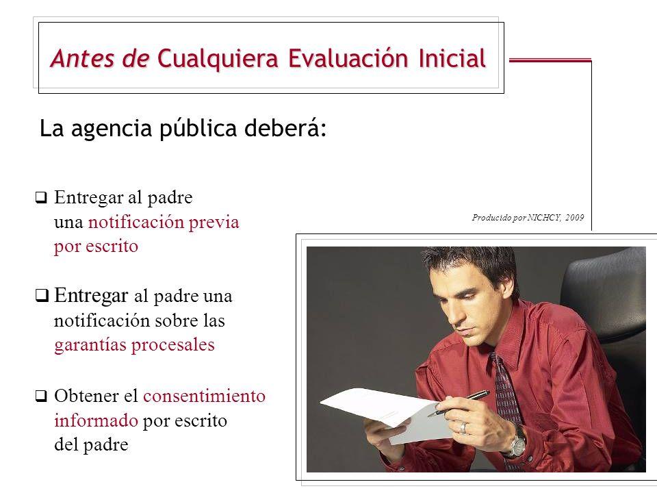 Antes de Cualquiera Evaluación Inicial La agencia pública deberá: Entregar al padre una notificación previa por escrito Entregar al padre una notifica