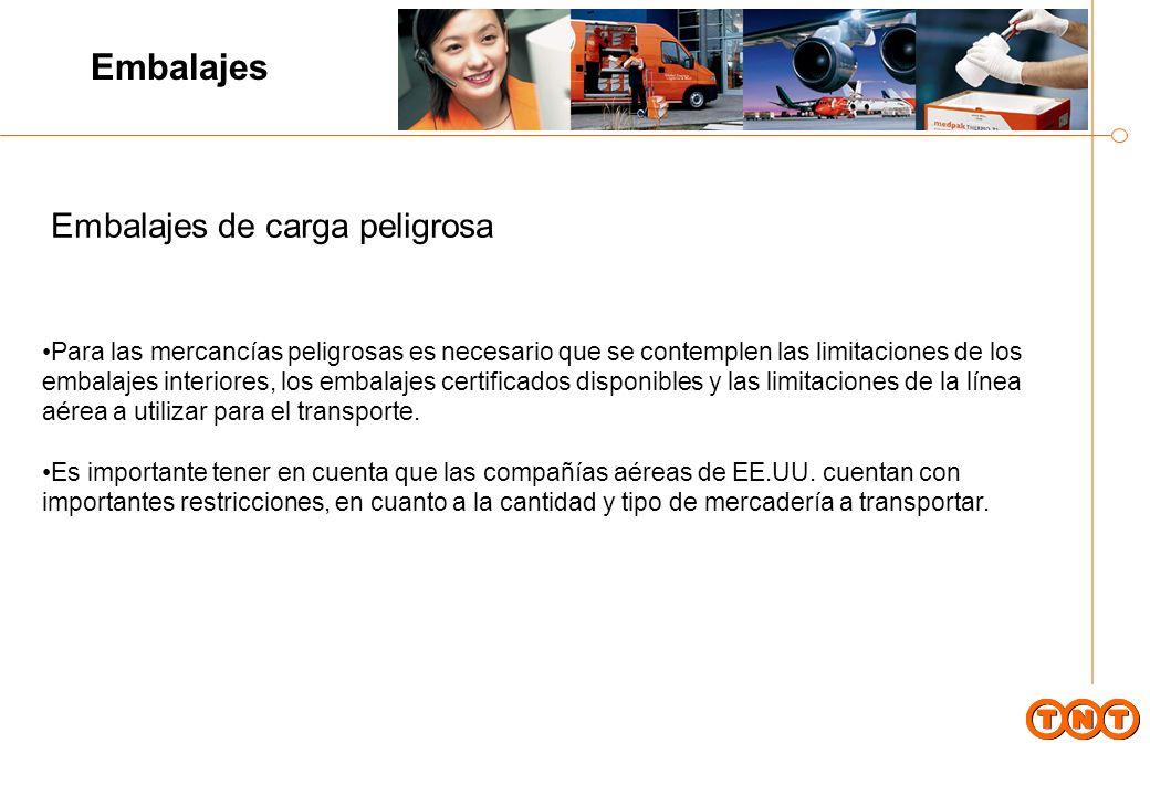 Para las mercancías peligrosas es necesario que se contemplen las limitaciones de los embalajes interiores, los embalajes certificados disponibles y las limitaciones de la línea aérea a utilizar para el transporte.