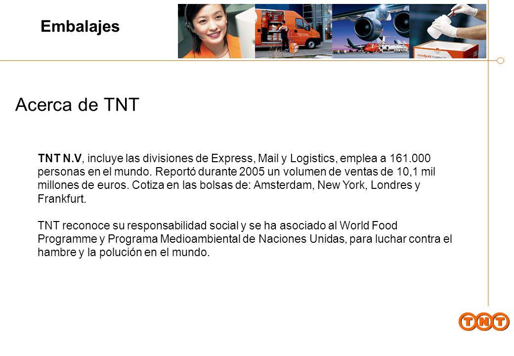 Acerca de TNT TNT N.V, incluye las divisiones de Express, Mail y Logistics, emplea a 161.000 personas en el mundo.