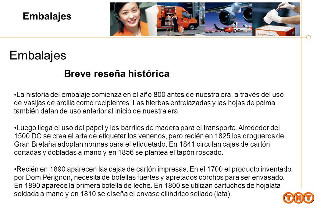 Embalajes La historia del embalaje comienza en el año 800 antes de nuestra era, a través del uso de vasijas de arcilla como recipientes.