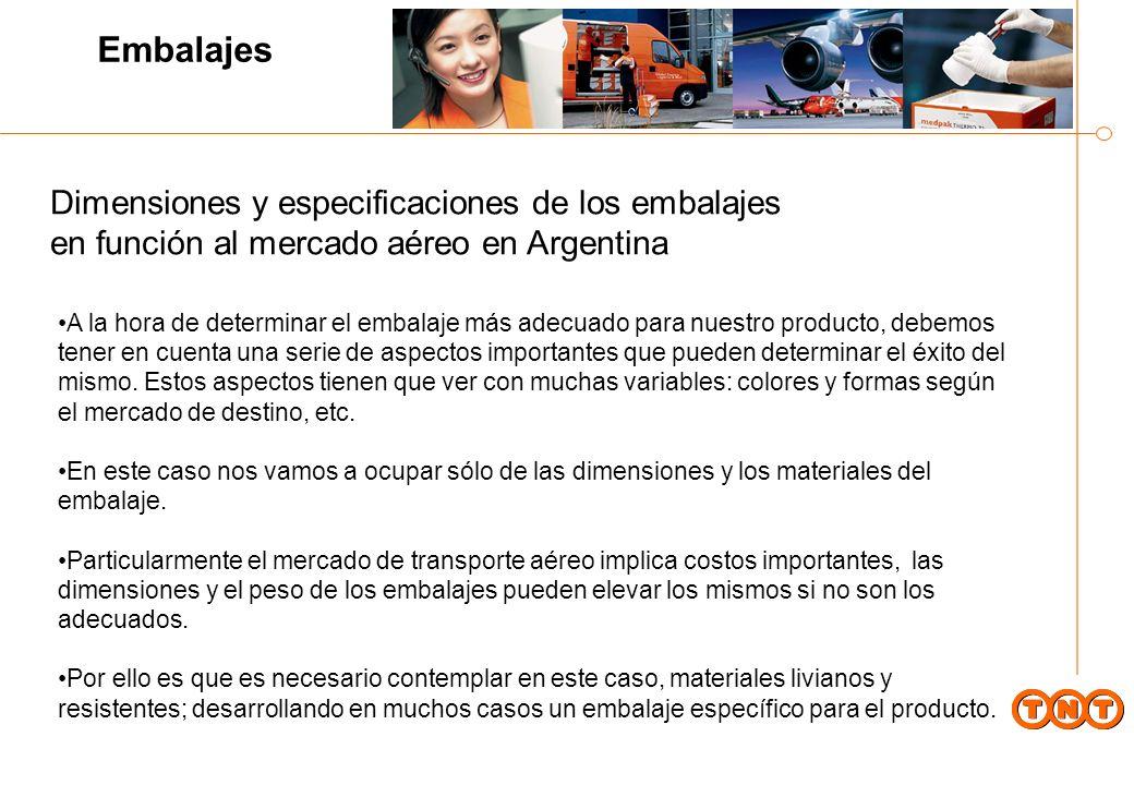 Al mismo tiempo existe una limitación referente a las dimensiones de bodega de las líneas comerciales que operan en Argentina: Existen diferentes tipos de aviones operando las rutas que unen Argentina con el mundo, particularmente los aviones que operan a EE.UU.