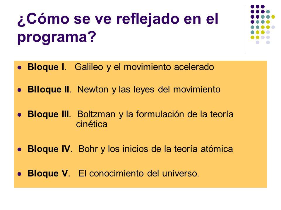 ¿Cómo se ve reflejado en el programa.Bloque I. Galileo y el movimiento acelerado Blloque II.