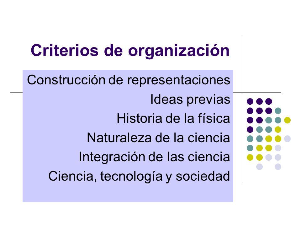 Criterios de organización Construcción de representaciones Ideas previas Historia de la física Naturaleza de la ciencia Integración de las ciencia Ciencia, tecnología y sociedad